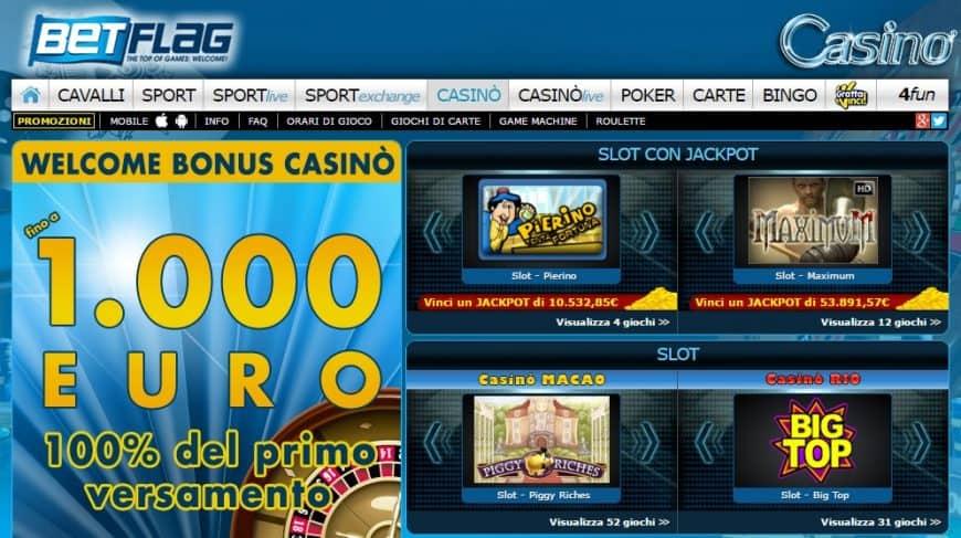 Slot machine con bonus di benvenuto senza deposito