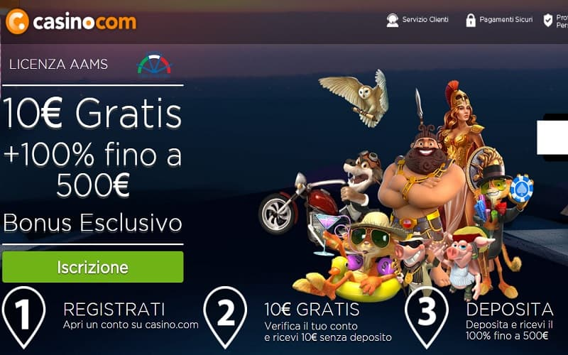 Casino.com offre bonus senza deposito