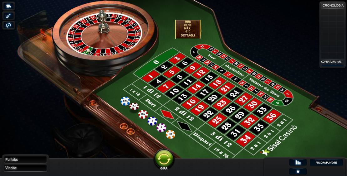 Roulette Europea Casino Online di Sisal
