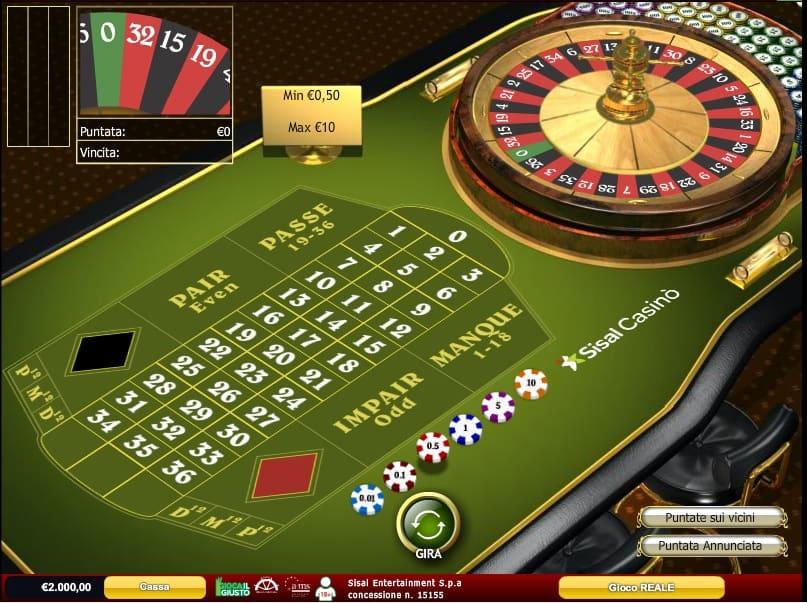 Roulette Francese Casino Online di Sisal