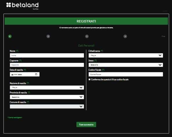 Come Aprire un conto Betaland