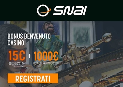 Bonus Snai Casino 15€ senza Deposito