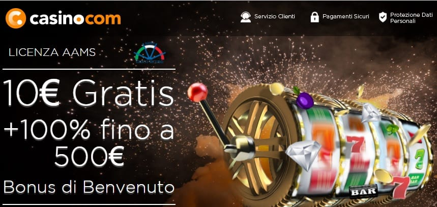 Bonus Senza deposito casino.com : 10€ alla registrazione