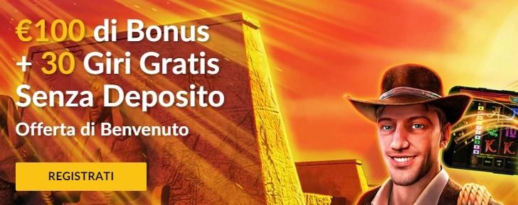 Bonus Starvega Senza Deposito 30 Giri Gratis + 100€