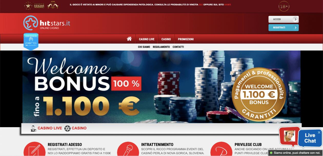 Histars Casino Homepage