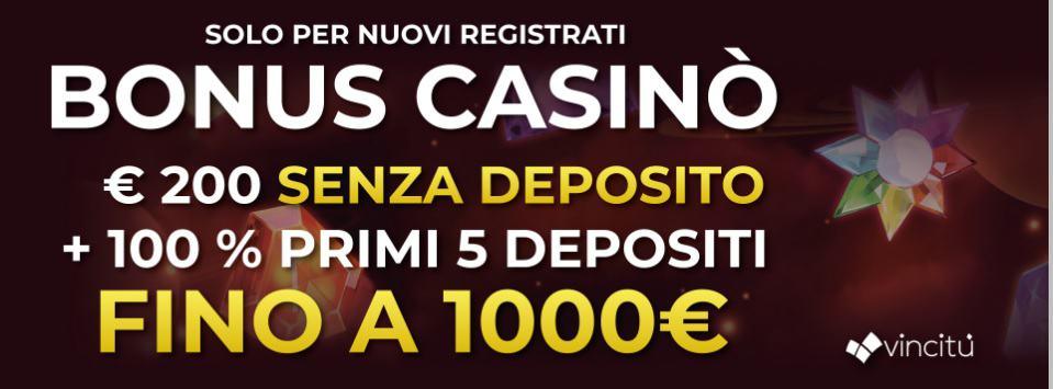 Bonus Senza Deposito Vincitu 200€